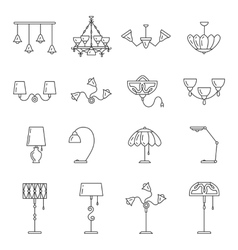 Line lamp icon set flat design vector image vector image