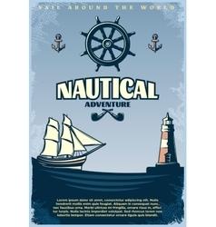 Retro nautical poster vector