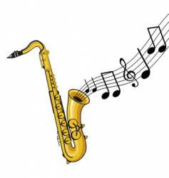 saxophone with notes vector image
