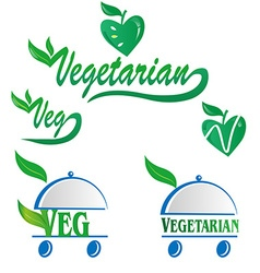 vegetarian and veg symbol vector image vector image