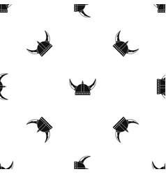 viking helmet pattern seamless black vector image vector image