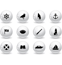 Web buttons seaside icons vector image vector image