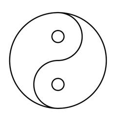 Yin Yang symbol black outline vector image vector image