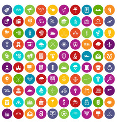 100 arrow icons set color vector image