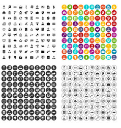100 chief icons set variant vector