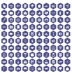 100 credit icons hexagon purple vector
