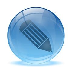 3d glass sphere pen icon vector