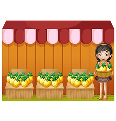 A girl selling pineapples vector