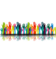 a group people hands up volunteer or voting vector image