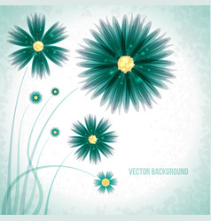 abstract green flowers background vector image