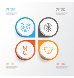 animal icons set collection of marsupial bunny vector image