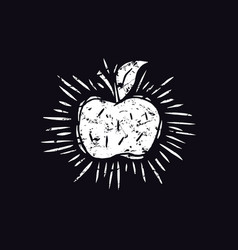 Apple in linocut style vector