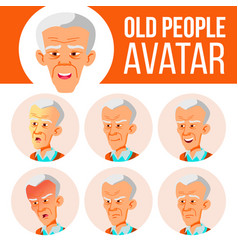 asian old man avatar set face emotions vector image