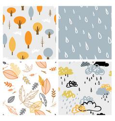 autumn seasonal seamless retro style pattern set vector image