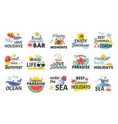 beach hand drawn stickers summer holidays labels vector image