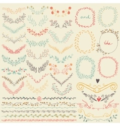 big collection hand drawn floral graphic design vector image