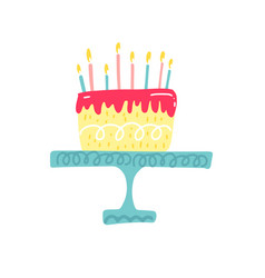 birthday cake with candle and heart happy vector image