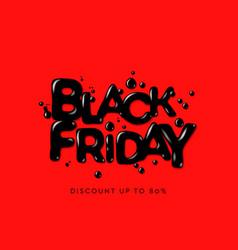 black friday sale banner poster logo on red vector image