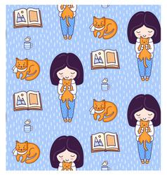 blonde girls books ginger cats kittens and tea vector image