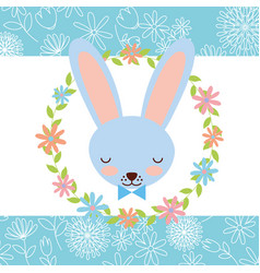 Blue rabbit face wreath flowers decoration card vector