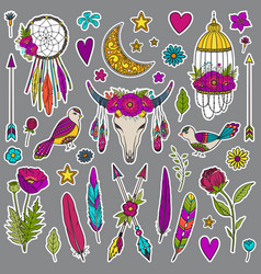 bohemian girly set of stickers vector image