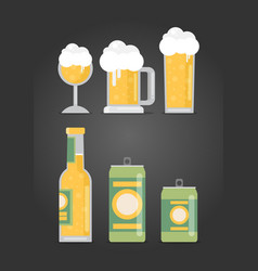 Bottle of beer with glass flat design modern vector