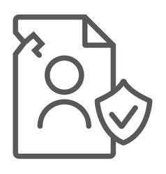 breach personall data line icon private and vector image