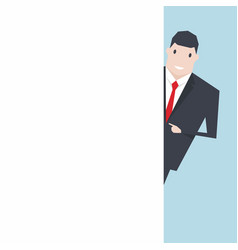 businessman pointing blank white wall copy space vector image