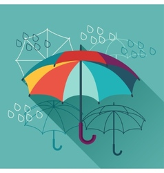 Card with umbrellas in flat design style vector image