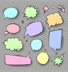 cartoon speech bubbles colored icons set vector image