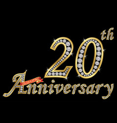 celebrating 20th anniversary golden sign vector image