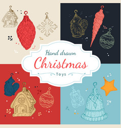 Christmas toys set in hand drawn style vector