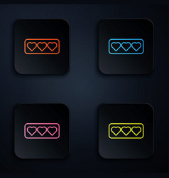Color neon line like and heart icon isolated vector