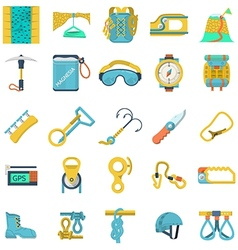 Colored icons collection for rock climbing vector
