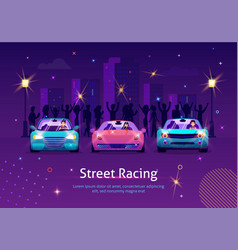 competition between sport vehicles at night vector image