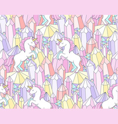 crystals and unicorns vector image