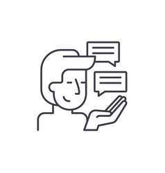 Customer research line icon concept customer vector
