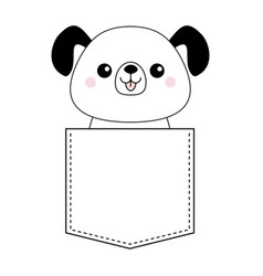 Cute cartoon dog in the pocket doodle contour vector