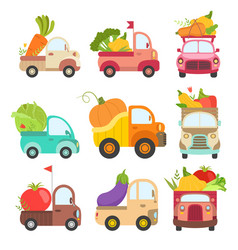 Cute trucks with giant fresh vegetables colorful vector