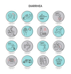 Diarrhea icon set vector