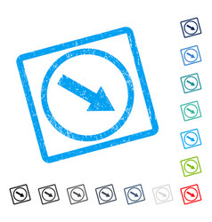 Down-right rounded arrow icon rubber watermark vector