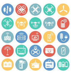 Drone icons set on color circles background for vector
