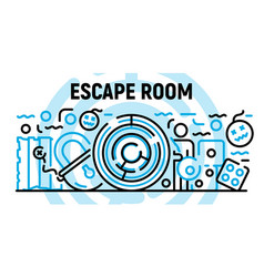 Escape room banner outline style vector