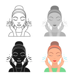 Face washing icon in cartoon style isolated on vector