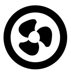 fan blades icon black color in circle vector image