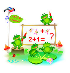 Fantasy cute little frogs learning to count vector