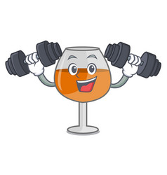 fitness cognac ballon glass character cartoon vector image