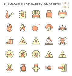 Flammable and safety icon set design 64x64 pixel vector