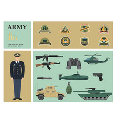 flat military colorful composition vector image