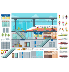 Flat train station infographic concept vector